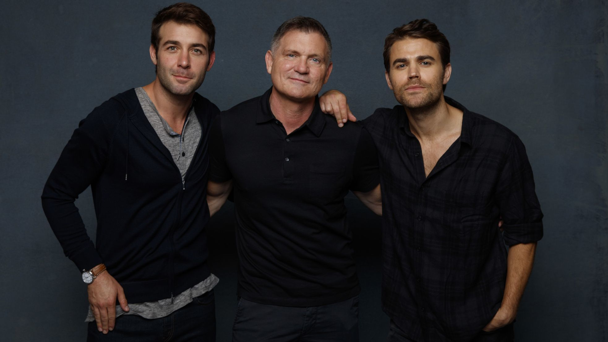 SAN DIEGO, CALIF. -- JULY 19, 2018-- (L-R)- James Wolk, Kevin Williamson (writer) and Paul Wesley f