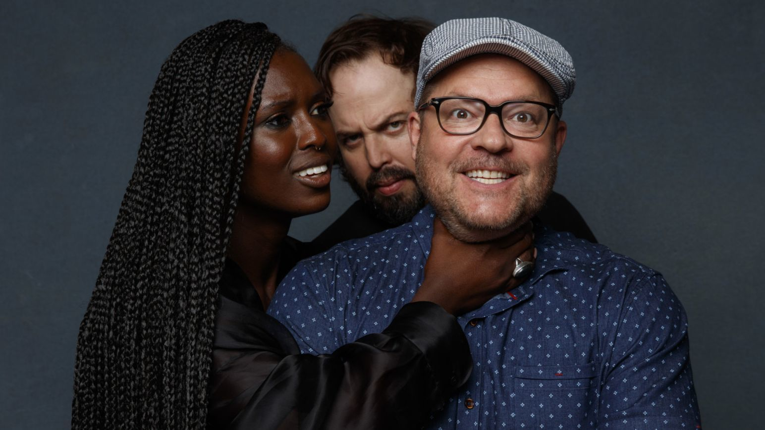 SAN DIEGO, CALIF. -- JULY 19, 2018-- Jodie Turner-Smith, Angus Sampson and Jeff Buhler (EP) from th
