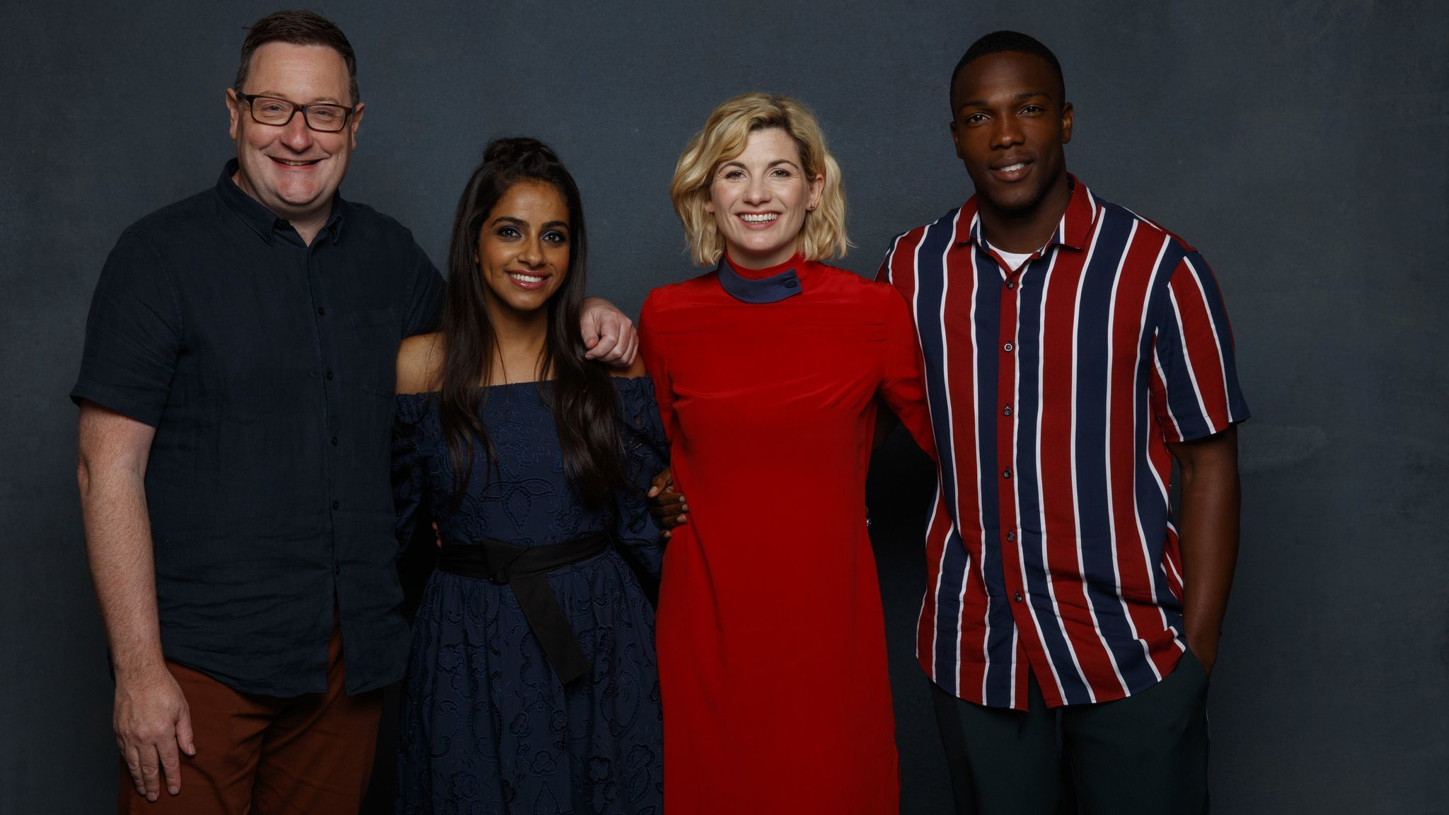 SAN DIEGO, CALIF. -- JULY 21, 2018-- (L-R)- Chris Chibnall (EP), Mandip Gill, Jodie Whittaker and