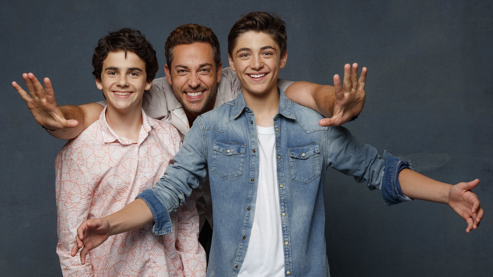 SAN DIEGO, CALIF. -- JULY 21, 2018-- (L-R)- Jack Dylan Grazer, Zachary Levi and Asher Angel from the