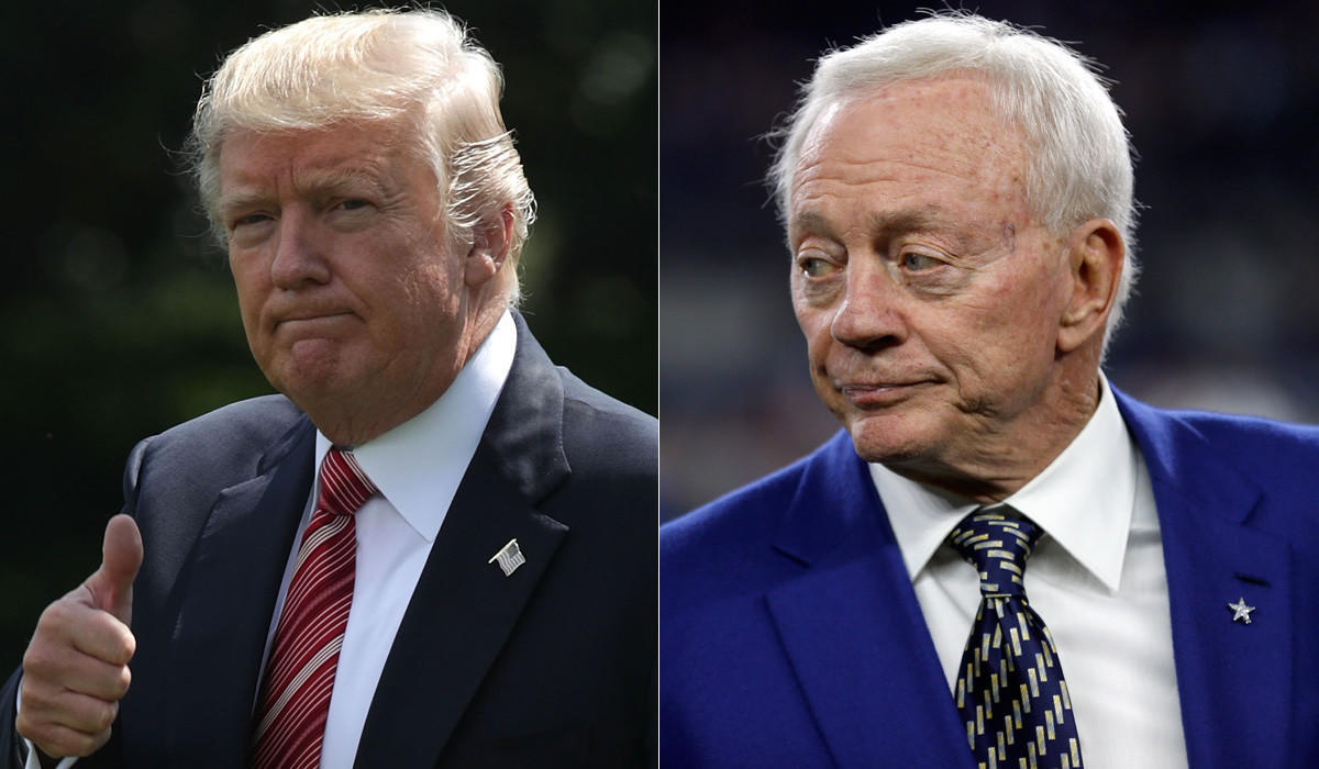 Trump tweets his approval of Cowboys' anthem policy, even though Jerry Jones wants him to butt out