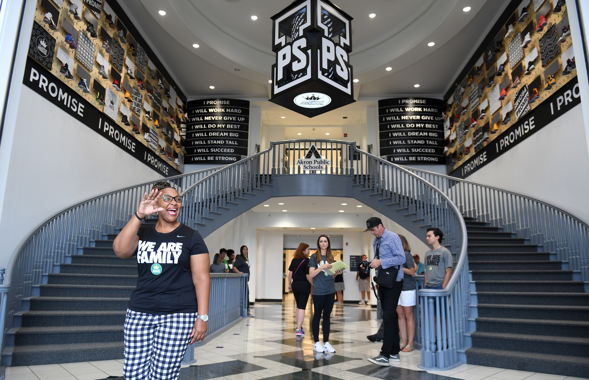 AKRON, OHIO JULY 29TH 2018-School principal Brandi Davis waves in the lobby of the I PROMISE School