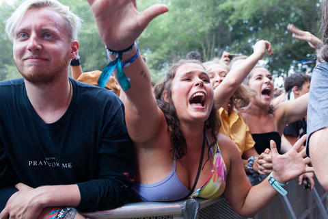 A fan reaches for Greta Van Fleet as the band performs on the American Eagle stage on Aug. 3, 2018.