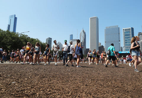 Festivalgoers at Lollapalooza on Aug. 3, 2018, in Chicago.