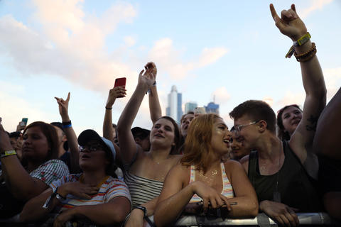 Fans enjoy Camila Cabello performing for the first time at Lollapaloozaon Aug. 2, 2018.