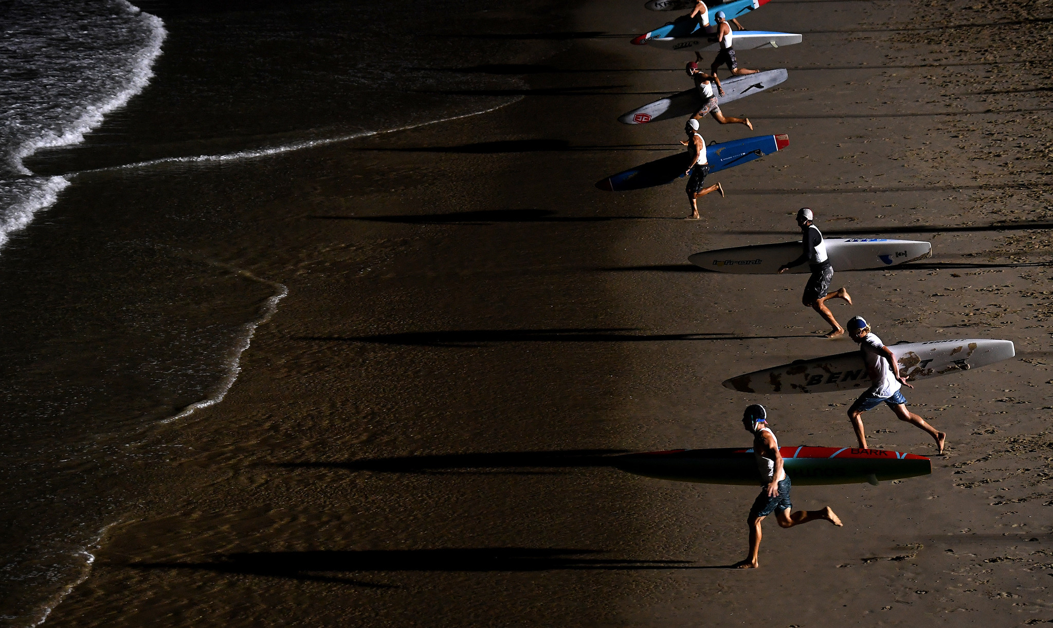 HERMOSA BEACH, CALIFORNIA AUGUST 3, 2018-Lifeguards compete during the International Surf Festival i