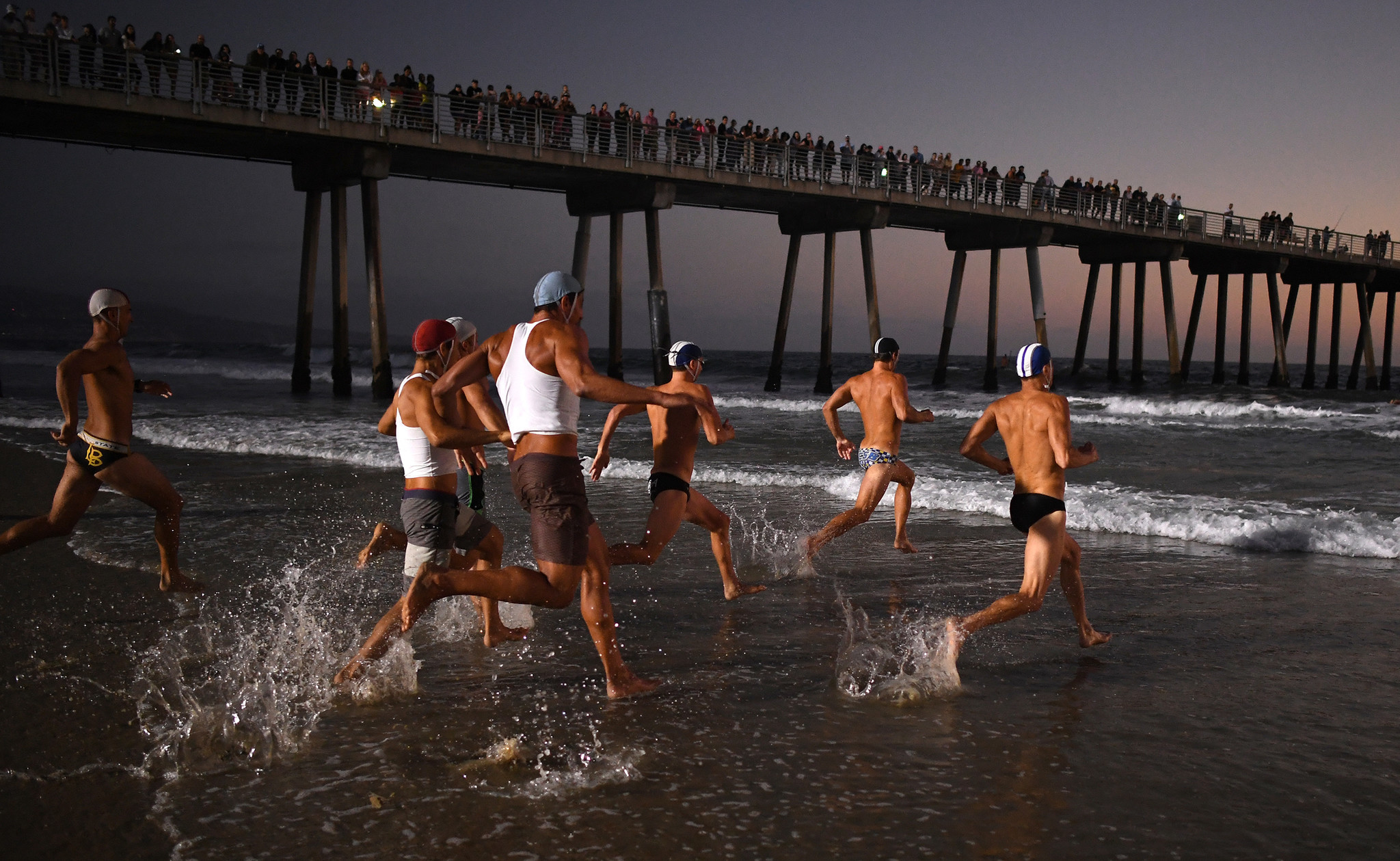 HERMOSA BEACH, CALIFORNIA AUGUST 3, 2018-Lifeguards from Southern California compete during the Inte