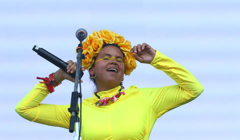 Li Saumet of Bomba Estereo performs at Lollapalooza Saturday, Aug. 4, 2018, in Chicago.