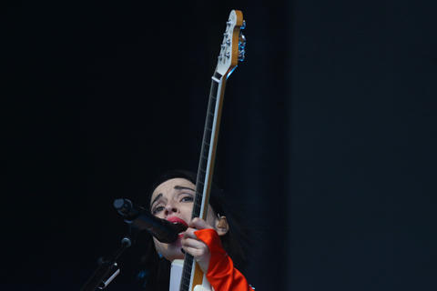 Annie Erin Clark, also known as St. Vincent, performs at Lollapalooza on Aug. 4, 2018, in Chicago.