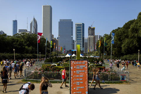 Festivalgoers find their way Sunday, Aug. 5, 2018 at Lollapalooza in Grant Park.