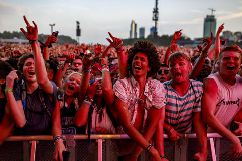 The crowd watches Lil Uzi Vert perform Sunday, Aug. 5, 2018 at Lollapalooza in Grant Park.