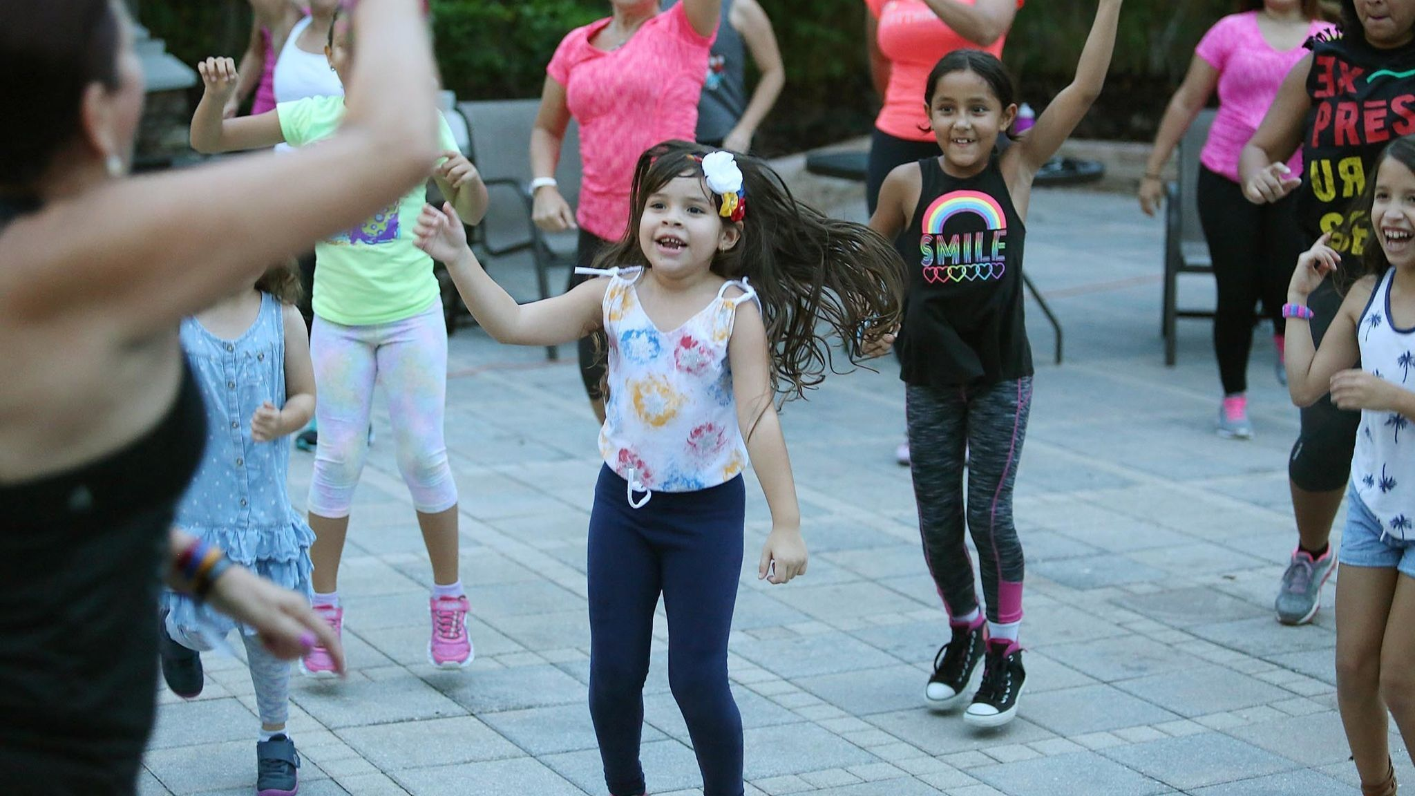 Venezualan Immigrants enjoy Zumba