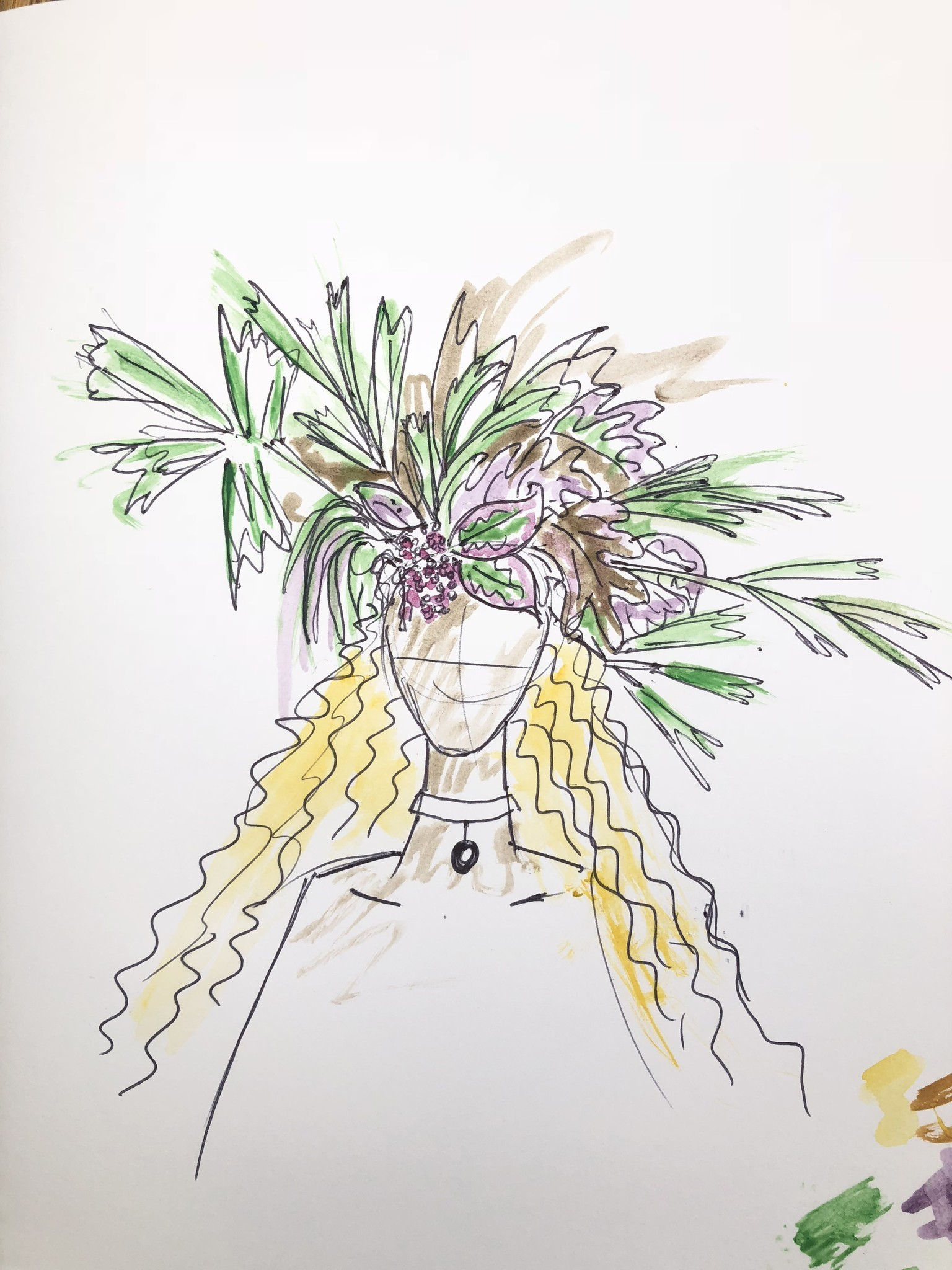 A sketch of Beyoncé's floral headdress for Vogue by Phil John Perry.