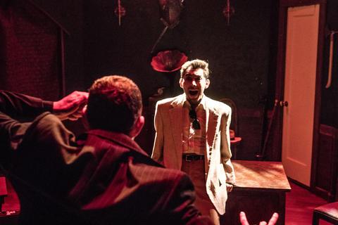 "Lee Wichman and Joshua Servantez in ""Nightmares and Nightcaps: The Stories of John Collier."""