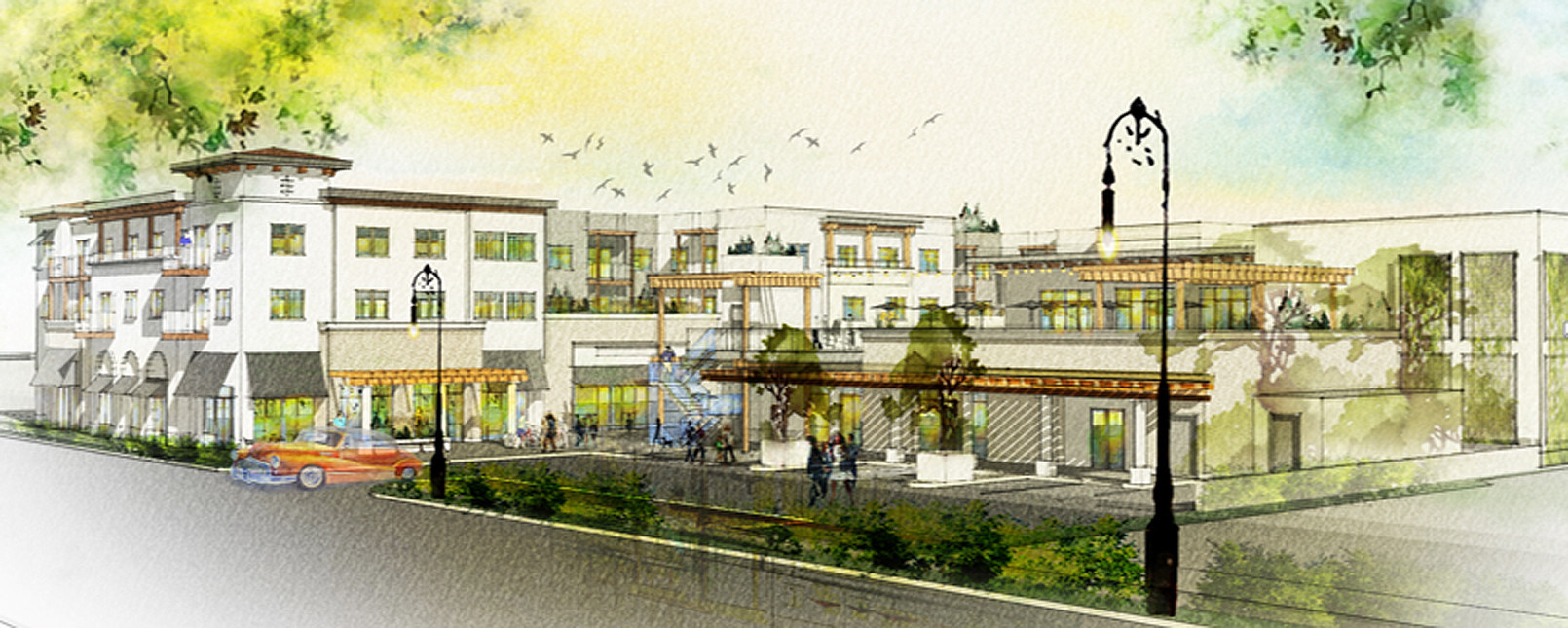 "Revised drawing shows ""The Trading Post"" development along Poway Road."