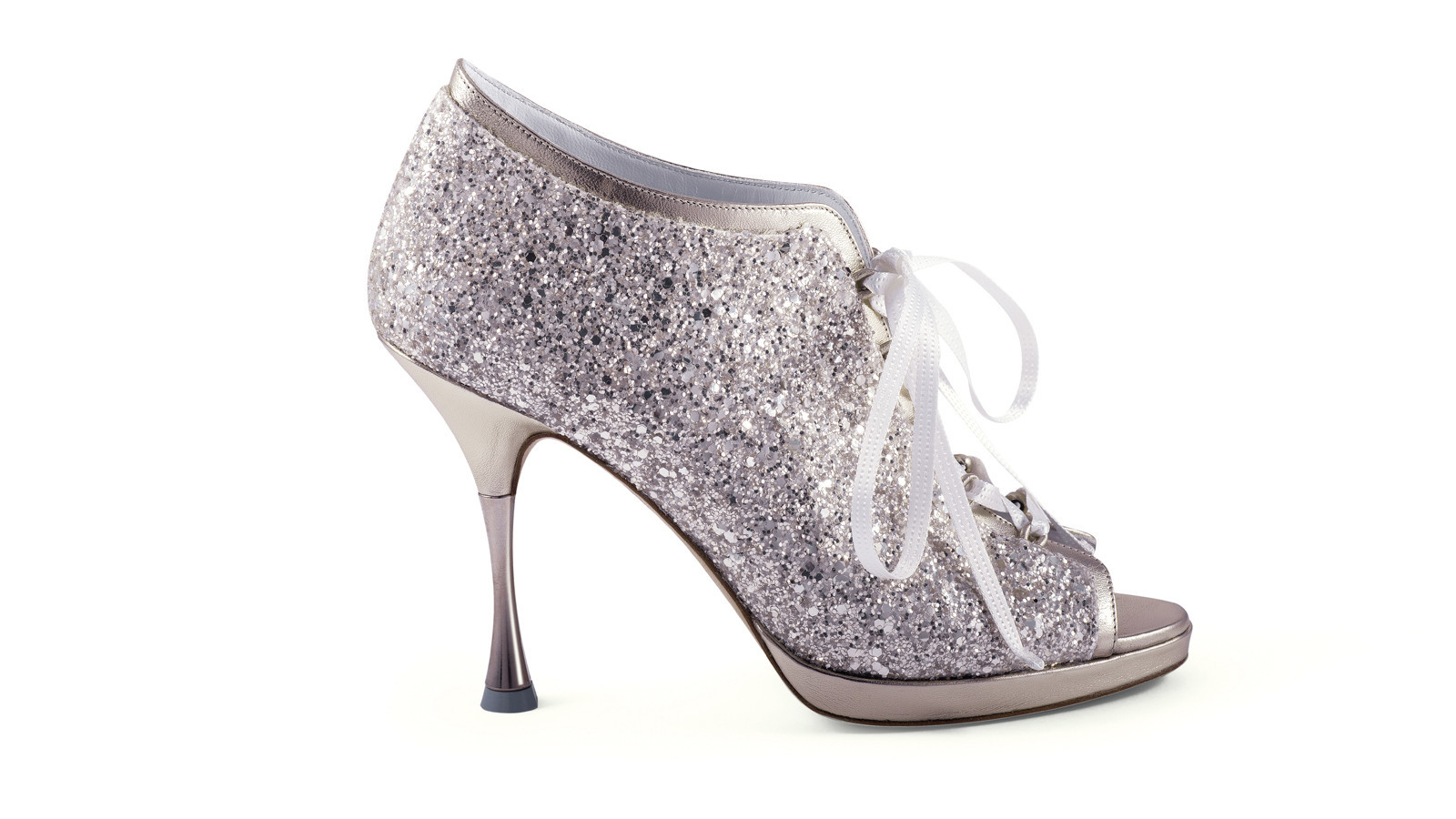 Crystal-encrusted shoes might enliven a traditional wedding dress.