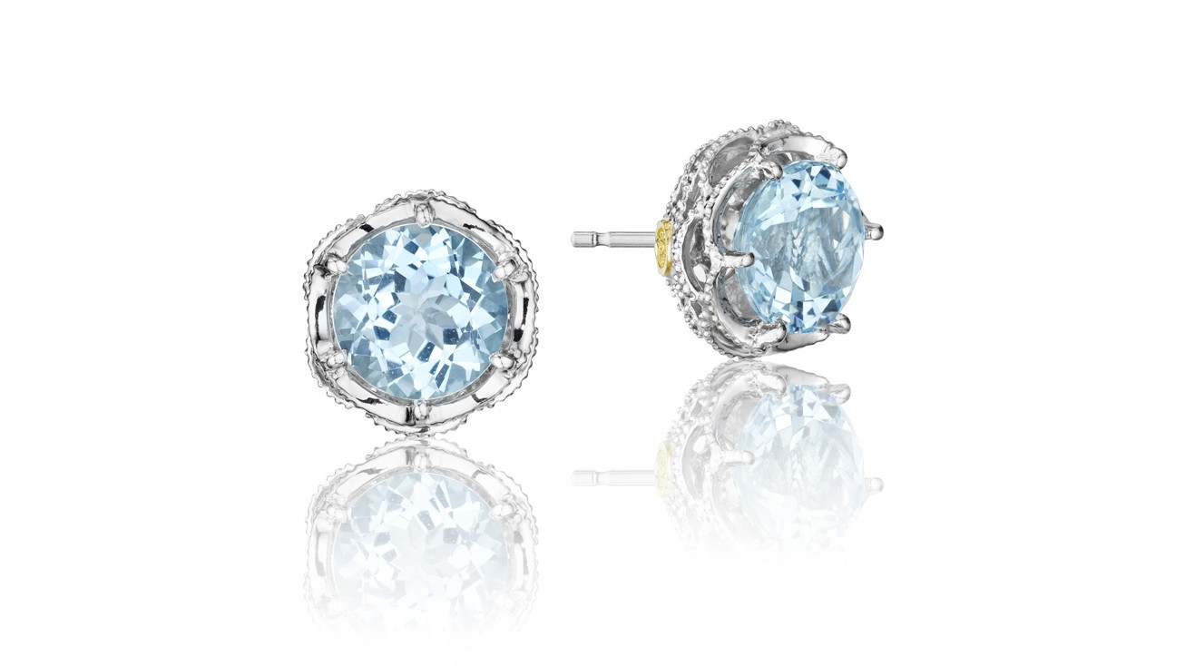 Tacori earrings add the blue in a subtle way thanks to sky blue topaz.