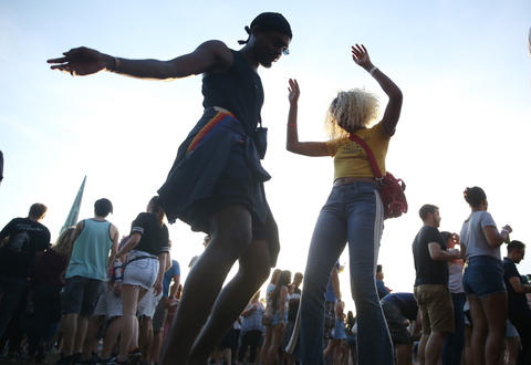 People dance during the North Coast Music Festivalon Sept. 2, 2018, in Chicago's Union Park.