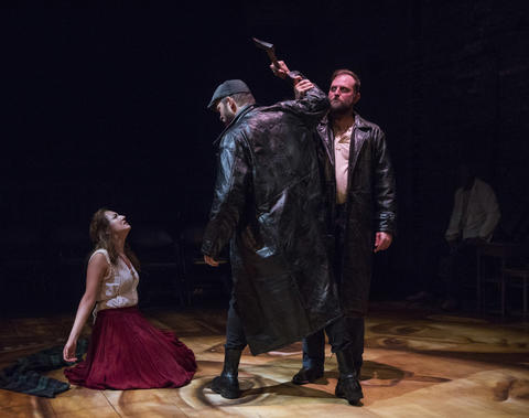 Ilse Zacharias, Drew Schad and Joseph Wiens in Shattered Globe Theatre's new adaptation of Crime and Punishment.
