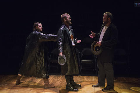 Christina Gorman, Drew Schad and Joseph Wiens in Shattered Globe Theatre's new adaptation of Crime and Punishment.