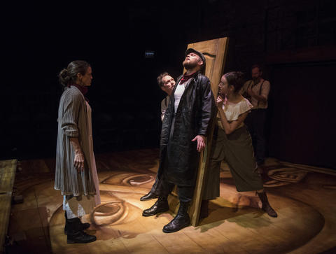 Rebecca Jordan, Brad Woodard, Drew Schad, Christina Gorman and Joseph Wiens in Shattered Globe Theatre's new adaptation of Crime and Punishment.