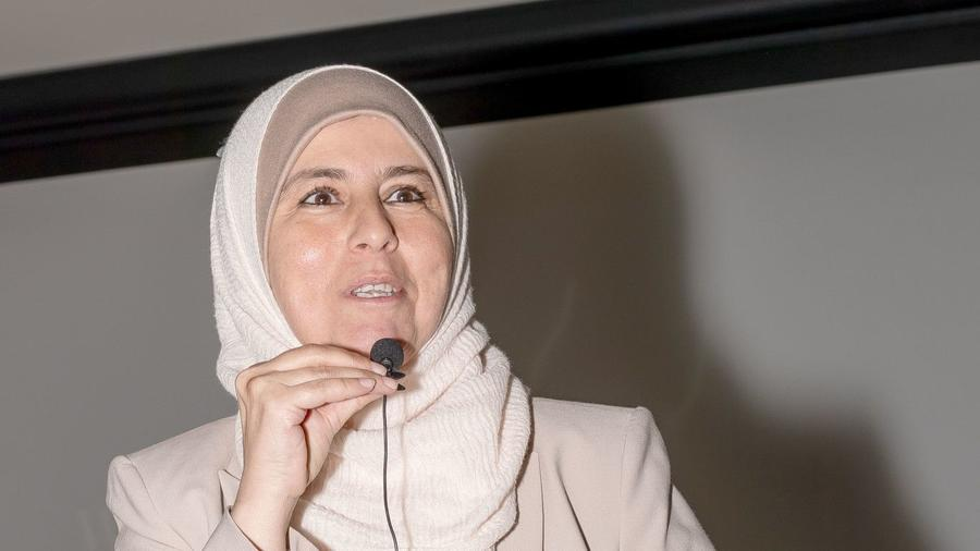 """Arwa Alkhawaja discusses the role of women in Islam during the """"Debunking Myths about the Islamic Faith"""" forum."""