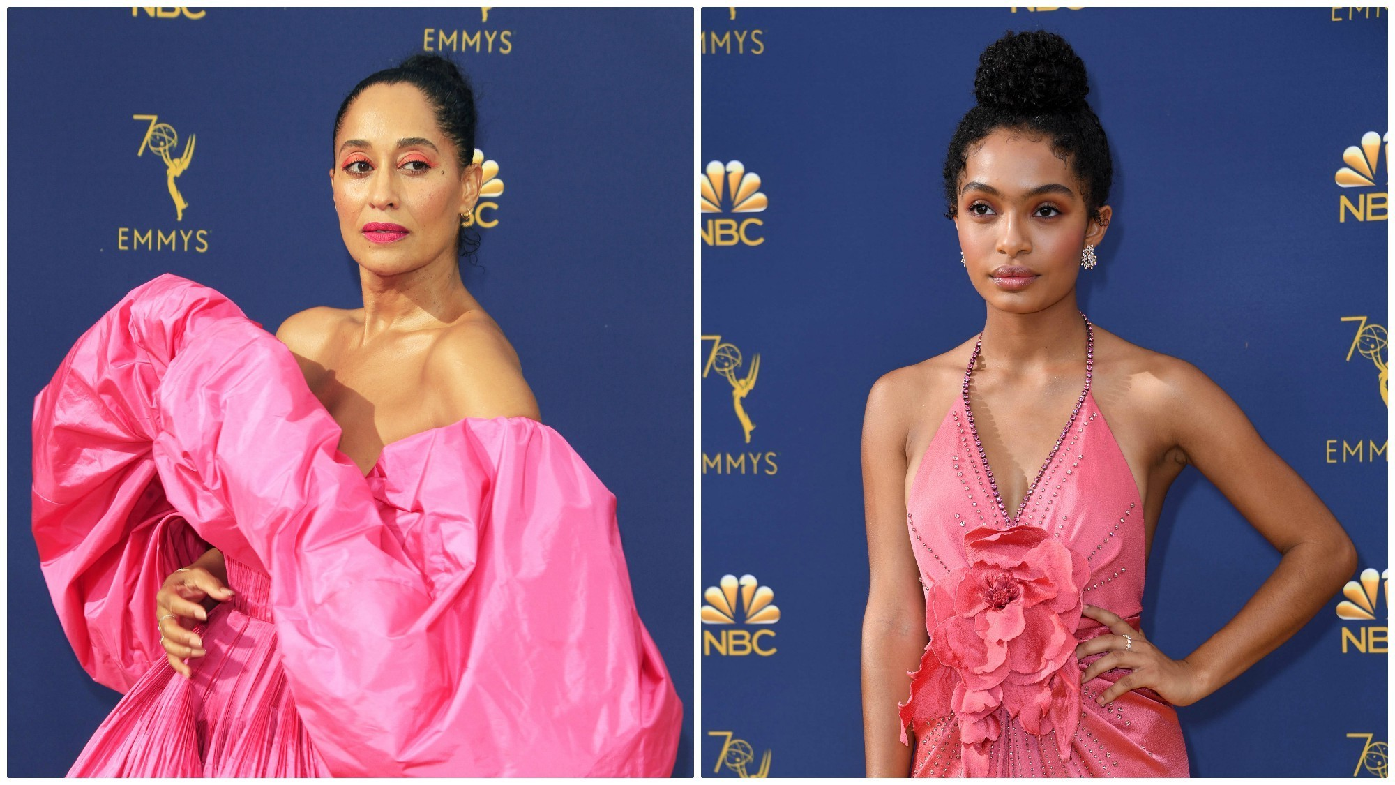 Emmys fashion trends: TV mom and daughter Tracee Ellis Ross, Yara Shahidi go bold in shades of pink