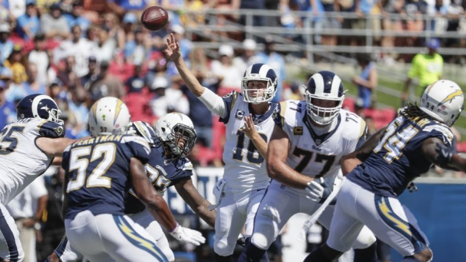 Chargers unable to keep pressure on Rams QB Jared Goff