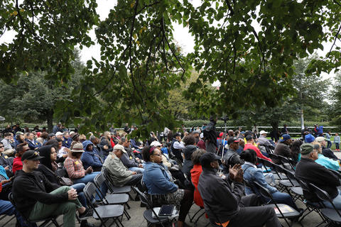 People listen to the Chicago State University Community Jazz Big Band at the Midway Plaisance during the Hyde Park Jazz Festival on Sept. 29, 2018, in Chicago.