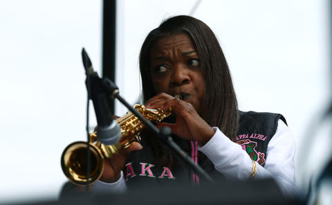 Roxanne Stevenson leads the Chicago State University Community Jazz Big Band at the Midway Plaisance during the Hyde Park Jazz Festival on Sept. 29, 2018, in Chicago.