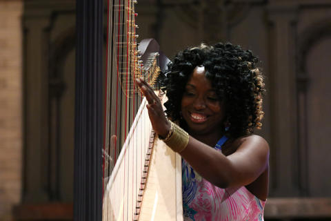 Brandee Younger performs at Hyde Park Union Church during the Hyde Park Jazz Festival on Sept. 29, 2018, in Chicago.