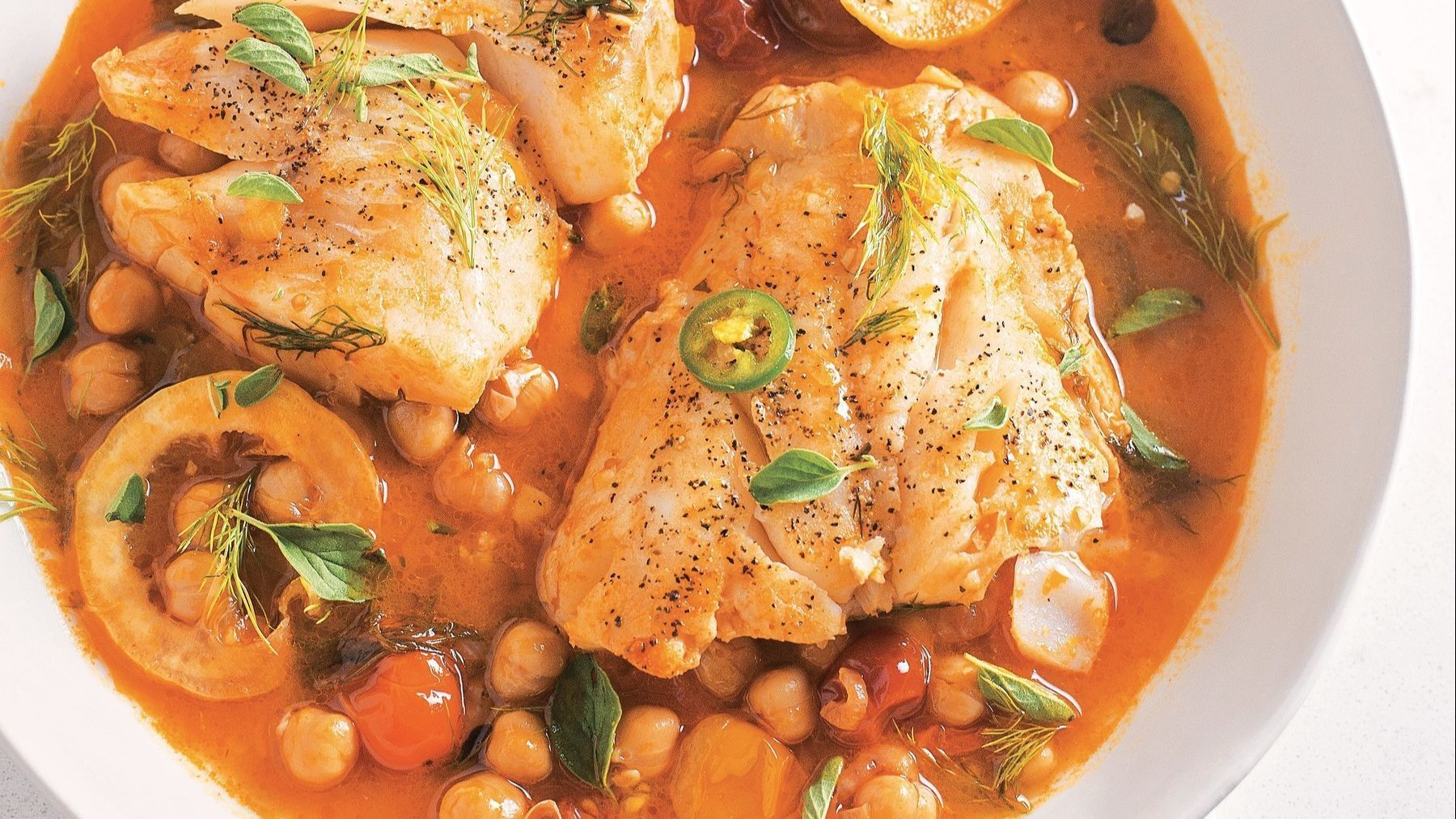 Blend of cultures inspired poached fish dish