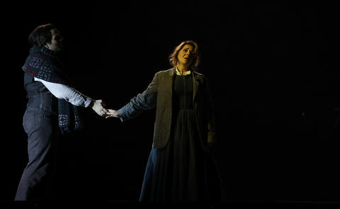 "Michael Fabiano (Rodolfo), and Maria Agresta (Mimi), perform in act three of Lyric Opera's dress rehearsal of ""La Boheme,"" Wednesday Oct. 3, 2018."
