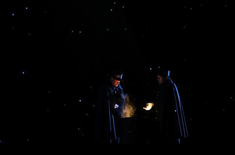 "Ronald Watkins (Custom Guard) and Nikolas Wenzel (Sergeant)perform in Lyric Opera's dress rehearsal of ""La Boheme,"" Wednesday Oct. 3, 2018."