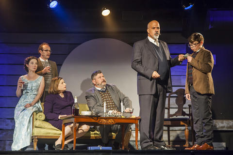"Blair Robertson, Jonathan Schwart, Rosalind Hurwitz, Kevin M. Grubb, Michael Kingston and Alejandro Medina in Firebrand Theatre and TimeLine Theatre Company's production of""Caroline, Or Change."""