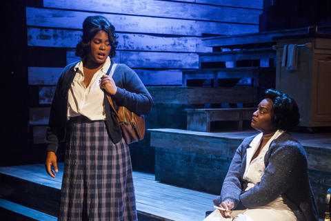 "Nicole Michelle Haskins and Rashada Dawan in Firebrand Theatre and TimeLine Theatre Company's production of  ""Caroline, Or Change."""