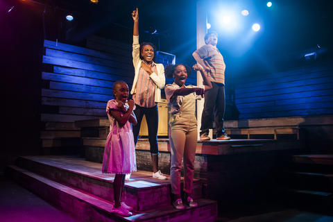 "Lyric K. Sims, Bre Jacobs, Princess Isis Z. Lang and Alejandro Medina in Firebrand Theatre and TimeLine Theatre Company's production of ""Caroline, Or Change."""