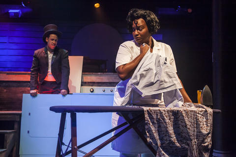 "Micheal Lovette and Rashada Dawan in Firebrand Theatre and TimeLine Theatre Company's production of ""Caroline, Or Change."""