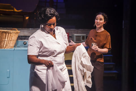 "Rashada Dawan and Blair Robertson in Firebrand Theatre and TimeLine Theatre Company's production of ""Caroline, Or Change."""