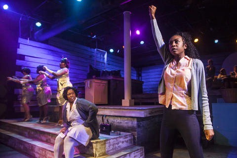 "Rashada Dawan and Bre Jacobs with (back, l to r) Emma Sipora Tyler, De'Jah Jervai and Roberta Burke in Firebrand Theatre and TimeLine Theatre Company's production of ""Caroline, Or Change."""