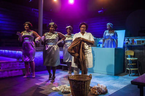 "Emma Sipora Tyler, De'Jah Jervai, Roberta Burke, Rashada Dawan and Tyler Symone in Firebrand Theatre and TimeLine Theatre Company's production of  ""Caroline, Or Change."""