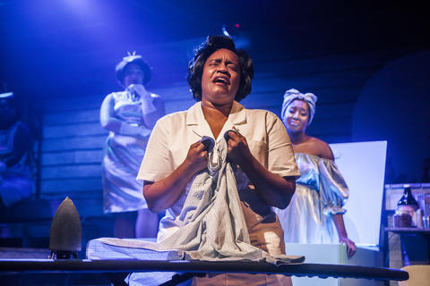 "Rashada Dawan with back Emma Sipora Tyler and Tyler Symone in Firebrand Theatre and TimeLine Theatre Company's production of ""Caroline, Or Change."""
