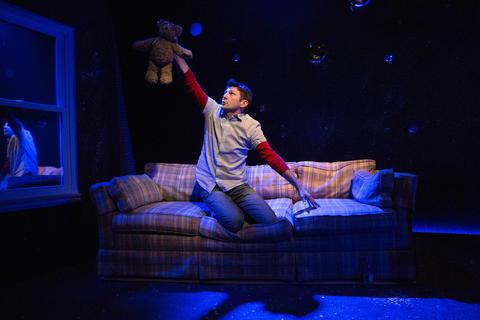Ensemble memberKenny MihlfriedinThe Gift Theatre'sMidwest premiere ofCosmologiesat the Gift Theatre.
