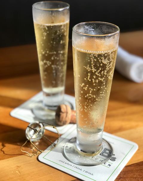 Champagne atDoc B's Fresh Kitchen.