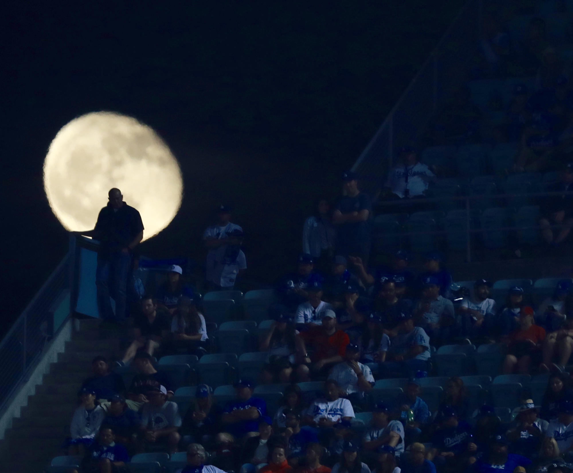 Moon over Dodger Stadium