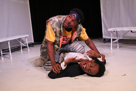 "Jalen GilbertandJayson LeeinFirst Floor Theater'sChicago premiere of""Hooded, Or Being Black for Dummies."""