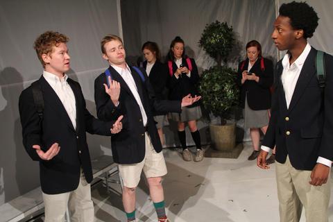 "Casey Morris,Andrew Cutler,Caroline Hendricks,Maggie Scrantom,Lauren Pizzi MontgomeryandJayson LeeinFirst Floor Theater'sChicago premiere of""Hooded, Or Being Black for Dummies."""
