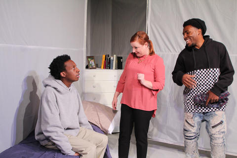 "Jayson Lee,Lauren Pizzi MontgomeryandJalen GilbertinFirst Floor Theater'sChicago premiere o""Hooded, Or Being Black for Dummies."""