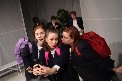 "Caroline Hendricks,Maggie ScrantomandLauren Pizzi Montgomerywith (back, l to r)Jayson Lee,Casey MorrisandAndrew CutlerinFirst Floor Theater'sChicago premiere of""Hooded, Or Being Black for Dummies."""