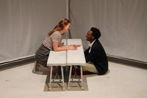 """Caroline HendricksandJayson LeeinFirst Floor Theater'sChicago premiere of""""Hooded, Or Being Black for Dummies."""""""